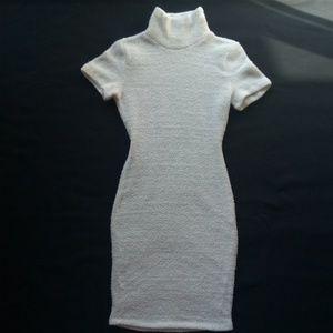 NASTY GAL Fuzzy Metallic Bodycon Sweater Dress